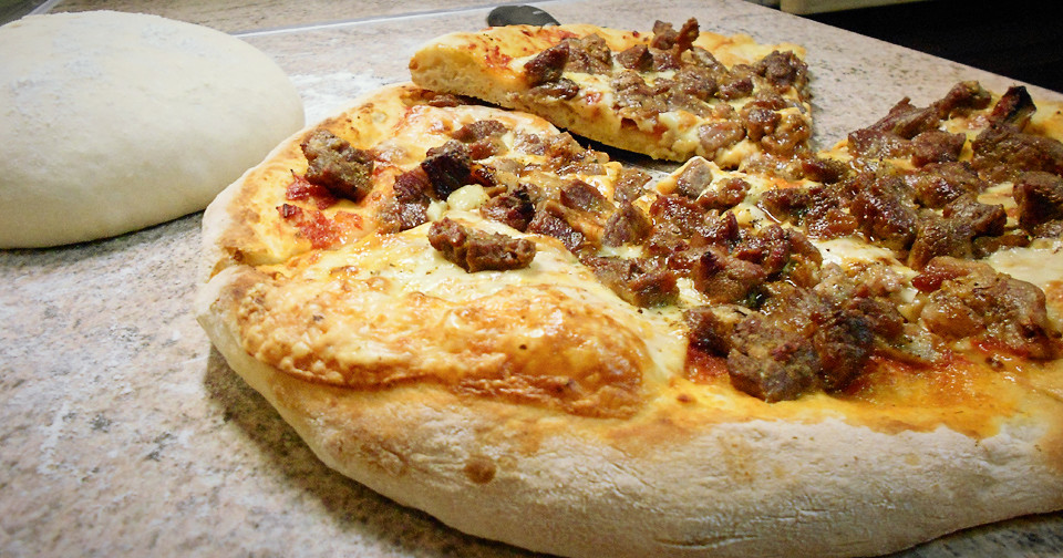 Σπιτική Πίτσα με Χοιρινό - Homemade Pork Pizza